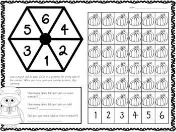 Spin an Odd or Even Number - Thanksgiving Freebie!