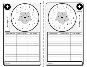 Spin and Add activity - NO PREP math spin and addition sheets from 10 to 15