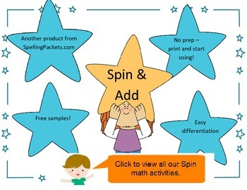Spin and Add activity - NO PREP math spin and addition sheets from 6 to 20