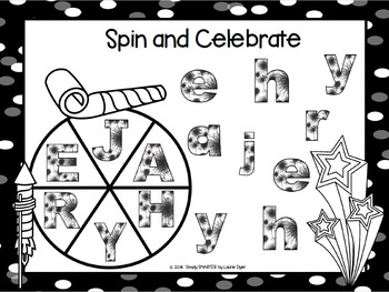 Spin and Celebrate:  NO PREP New Year's Eve Letter Matching Game