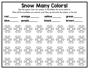 Spin and Color - A fun way to practice color words AND 1 to 1 correspondence!