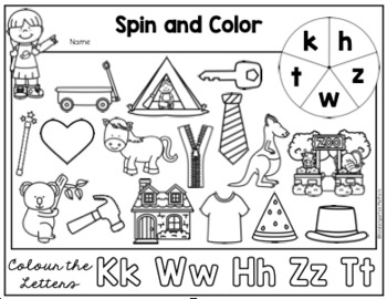 Spin and Color/Colour - Introducing Beginning Sounds.