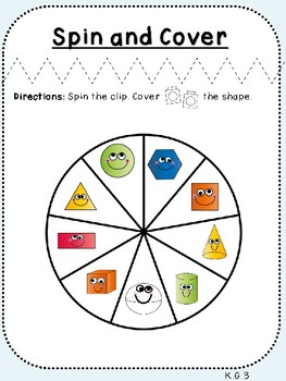 Spin and Cover (Kindergarten Geometry Activity, K.G.3)