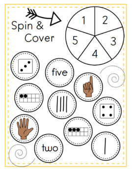 Spin and Cover! Subitizing Work Mats for Kindergarten Math Center