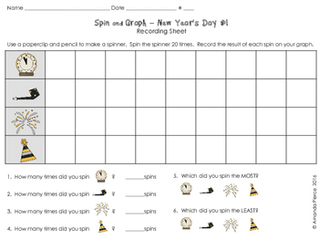 Spin and Graph NO PREP - New Year's Day (3 SETS)