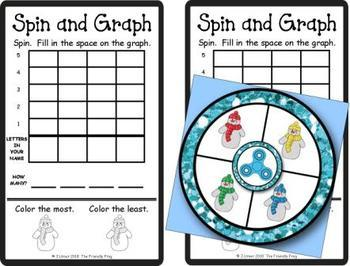 Spin and Graph Name Practice Snowmen