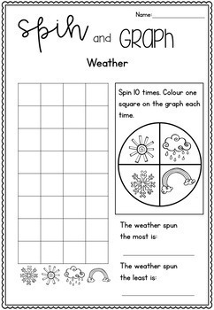 Spin and Graph Activity Interactive Worksheets - 20 Fun Topics