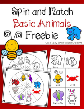 Spin and Match Basic Animals Freebie