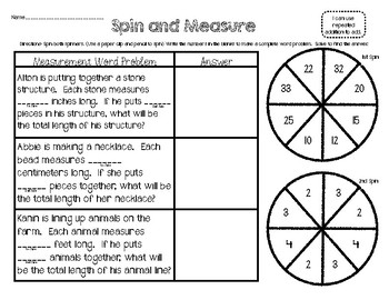 Spin and Measure Word Problems