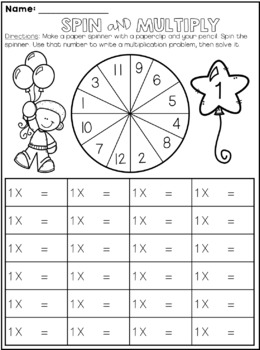 Spin and Multiply - Multiplication Facts {NO PREP}