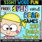 Dolch Sight Words: FREE Spin and Read Sight Word Games
