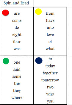 Spin And Read Saxon Phonic Second Grade Sight Word Game By Heavenly