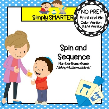 Spin and Sequence:  NO PREP Hanukkah Themed Number Bump Game