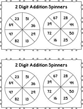 Spin and Solve - 2 Digit Addition (with regrouping) {FREEBIE}