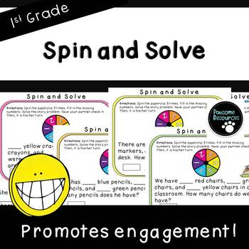 Spin and Solve Word Problems (3 addends)-Student Game (First Grade, 1.OA.2)