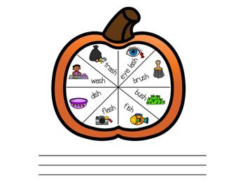 Spin and Speak! Final /sh/ Pumpkin Themed
