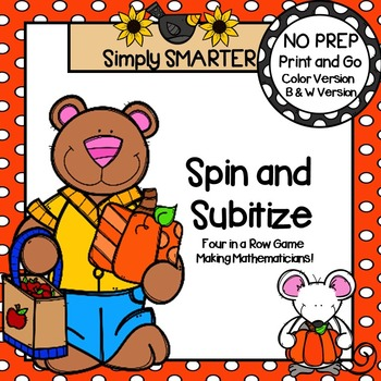 Spin and Subitize:  NO PREP Autumn Four in a Row Game