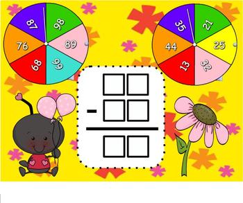 Spin and Subtract 2 Digit SMARTBoard Lesson