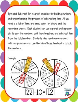 Spin and Subtract Ten Math Center