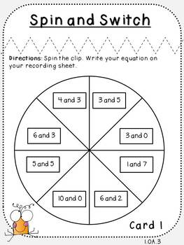 Spin and Switch-Student Game (First Grade, 1.OA.3)