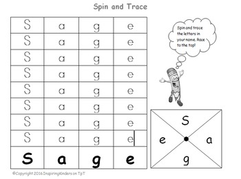 Spin and Trace Names (Microsoft Word) BACK TO SCHOOL