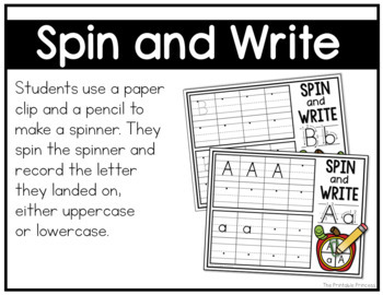 Spin and Write {Alphabet Activities to Teach Letter Recognition}