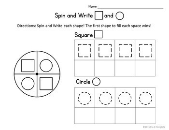 Spin and Write Bundle - Letters, Numbers, Shapes - No Prep Worksheets