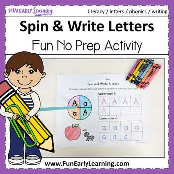 Spin and Write Letters - No Prep Interactive Worksheets