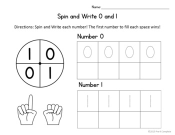 Spin and Write Numbers - No Prep Interactive Worksheets