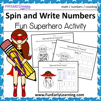 Spin and Write Numbers with Superheroes - No Prep Interactive Worksheets