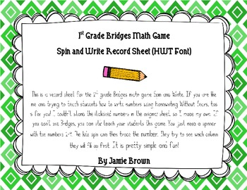 Bridges Math Style Spin and Write Record Sheet (HWT FONT)