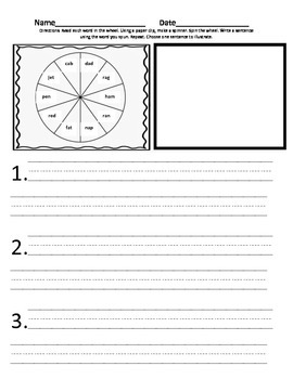 Spin and Write Sentences-CVC Words 1