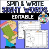 Spin and Write Sight Words {EDITABLE} *Corresponds with Re