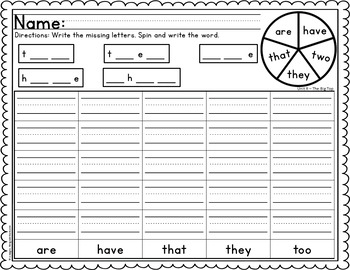 Spin and Write Sight Words (First Grade Reading Street Common Core editions)