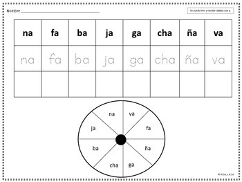 Spin and Write Syllables Silabas Spanish Espanol