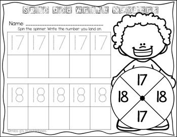Spin and Write: Teen Numbers {11-20}