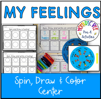 Spin, draw and write emotions game