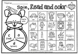 Spin read and color beginning letter.