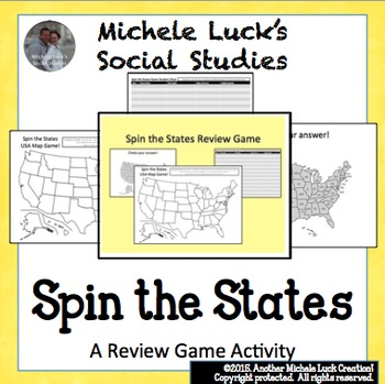 Spin the States Game!  Great Geography Review of the Unites States