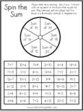 Sums to 20 - Spin the Sum - Classroom Pencil Spinner Activity