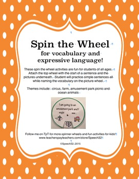 Spin the Wheel for vocabulary and Expressive Language