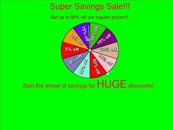 Spin the Wheel of Savings: Practice Using Percent Discounts CCSS 7.RP.3