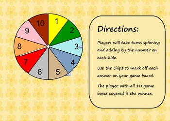 Spin to Add Smartboard Lesson (Addition Fact Practice)