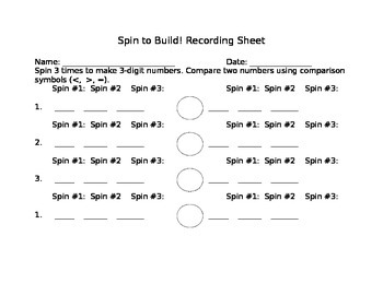 Spin to Build! Recording Sheet-3 Digit Numbers
