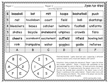 Fun Partner Word Game! Great for Fast Finishers, Subs, Center Time: Spin to Win!