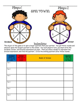 Spin to Win - Model Division of Whole Numbers and Unit Fractions 5.NF.7