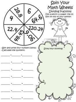 Spin your Math Wheels Comparing, Ordering and Operations with Fractions Bundle