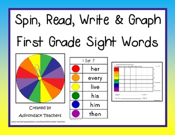 Spin,Read, Write and Graph Dolch Sight Words First Grade