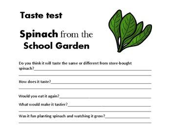 Spinach Taste Test Log