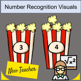 Number Recognition 0-5 Popcorn buckets 3 sets